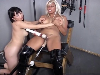 Sex Slaves In Bondage With Sex Machine! asian bdsm fuck machine video