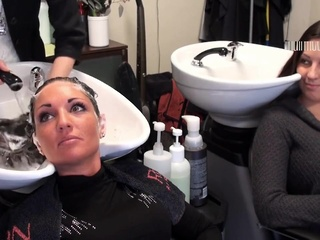 Salon Backwards Shampoo 2 brunette fetish foot fetish video